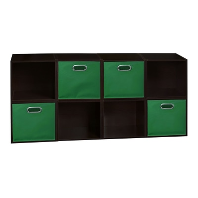 Niche Cubo Storage Set - 8 Cubes and 4 Canvas Bins- Truffle/Green