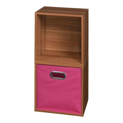 Niche Cubo Storage Set - 2 Cubes and 1 Canvas Bin- Warm Cherry/Pink