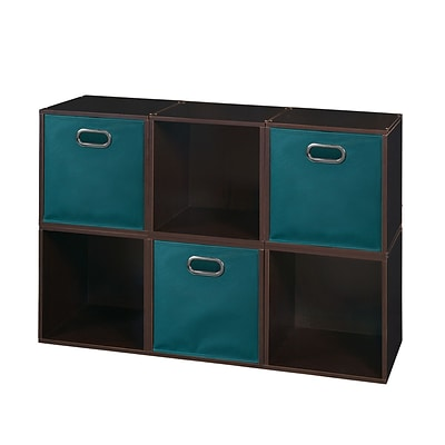 Niche Cubo Storage Set - 6 Cubes and 3 Canvas Bins- Truffle/Teal