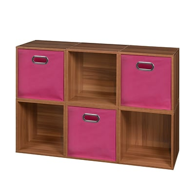 Niche Cubo Storage Set - 6 Cubes and 3 Canvas Bins- Warm Cherry/Pink