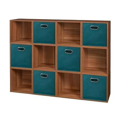 Niche Cubo Storage Set - 12 Cubes and 6 Canvas Bins- Warm Cherry/Teal