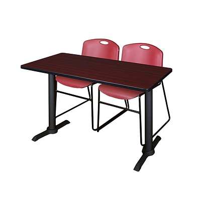 Regency Cain 42 x 24 Training Table- Mahogany & 2 Zeng Stack Chairs- Burgundy