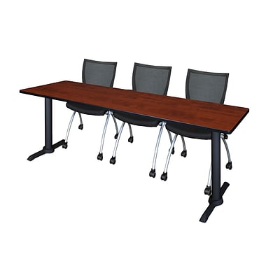 Regency Cain 84 x 24 Training Table- Cherry & 3 Apprentice Chairs- Black
