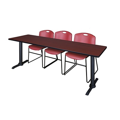 Regency Cain 84 x 24 Training Table- Mahogany & 3 Zeng Stack Chairs- Burgundy