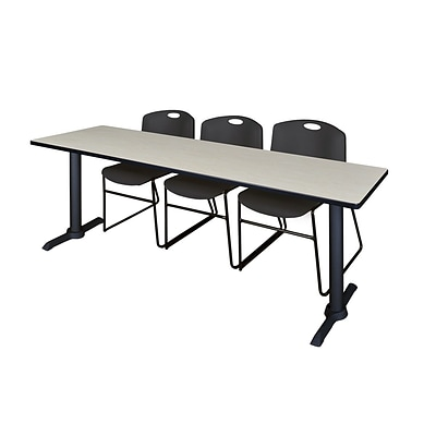 Regency Cain 84 x 24 Training Table- Maple & 3 Zeng Stack Chairs- Black