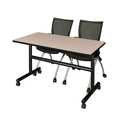 Regency Kobe 48 Flip Top Mobile Training Table- Beige & 2 Apprentice Chairs- Black