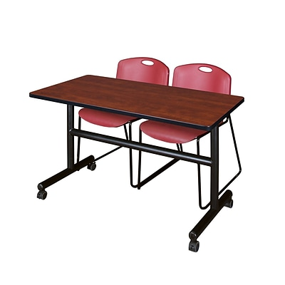 Regency Kobe 48 Flip Top Mobile Training Table- Cherry & 2 Zeng Stack Chairs- Burgundy