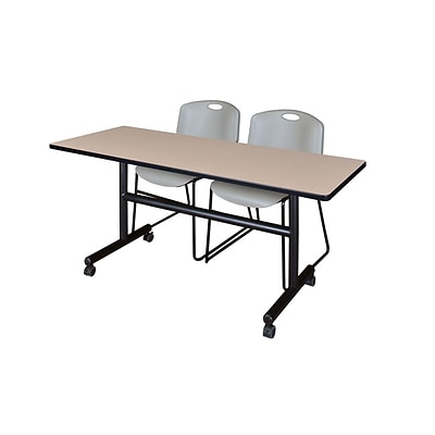 Regency Kobe 60 Flip Top Mobile Training Table- Beige & 2 Zeng Stack Chairs- Grey