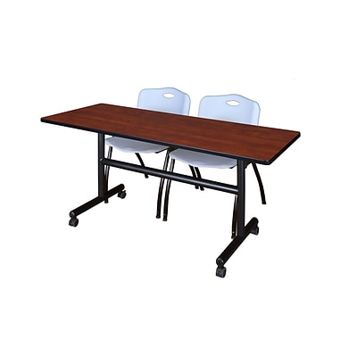 Regency Kobe 60 Flip Top Mobile Training Table- Cherry & 2 M Stack Chairs- Grey