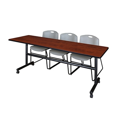 Regency Kobe 84 Flip Top Mobile Training Table- Cherry & 3 Zeng Stack Chairs- Grey