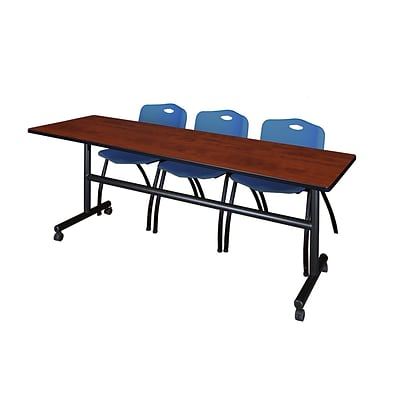 Regency Kobe 84 Flip Top Mobile Training Table- Cherry & 3 M Stack Chairs- Blue