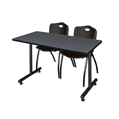 Regency Kobe 42 x 24 Training Table- Grey & 2 M Stack Chairs- Black [MKTRCT42GY47BK]