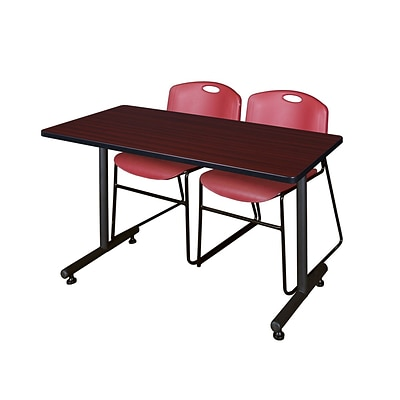 Regency Kobe 42 x 24 Training Table- Mahogany & 2 Zeng Stack Chairs- Burgundy [MKTRCT42MH44BY]