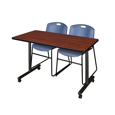 Regency Kobe 42 x 24 Mobile Training Table- Cherry & 2 Zeng Stack Chairs- Blue [MKTRCC42CH44BE]