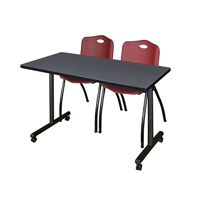 Regency Kobe 42 x 24 Mobile Training Table- Grey & 2 M Stack Chairs- Burgundy [MKTRCC42GY47BY]
