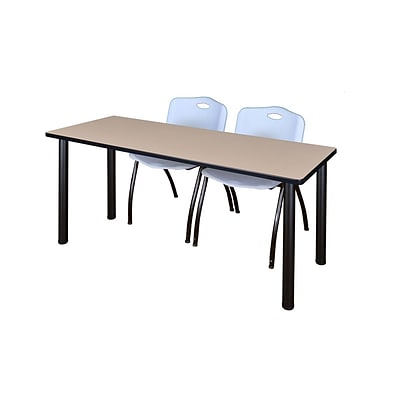 Regency Kee 60 x 24 Training Table- Beige/ Black & 2 M Stack Chairs- Grey [MT60BEBPBK47GY]