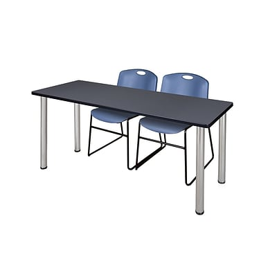 Regency Kee 60 x 24 Training Table- Grey/ Chrome & 2 Zeng Stack Chairs- Blue [MT60GYBPCM44BE]