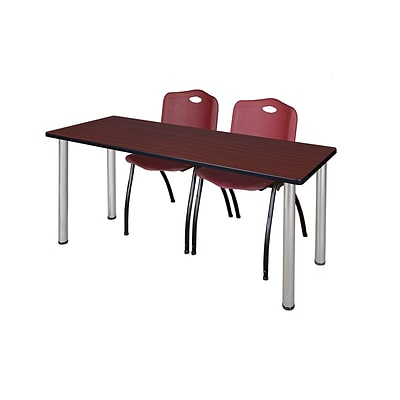 Regency Kee 60 x 24 Training Table- Mahogany/ Chrome & 2 M Stack Chairs- Burgundy [MT60MHBPCM47BY]