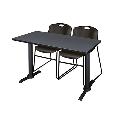 Regency Cain 42 x 24 Training Table- Grey & 2 Zeng Stack Chairs- Black