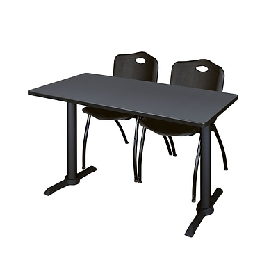Regency Cain 42 x 24 Training Table- Grey & 2 M Stack Chairs- Black