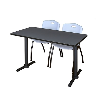 Regency Cain 42 x 24 Training Table- Grey & 2 M Stack Chairs- Grey