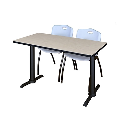 Regency Cain 42 x 24 Training Table- Maple & 2 M Stack Chairs- Grey
