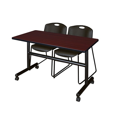 Regency Kobe 48 Flip Top Mobile Training Table- Mahogany & 2 Zeng Stack Chairs- Black