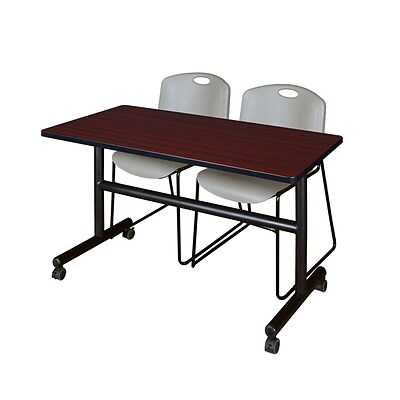 Regency Kobe 48 Flip Top Mobile Training Table- Mahogany & 2 Zeng Stack Chairs- Grey