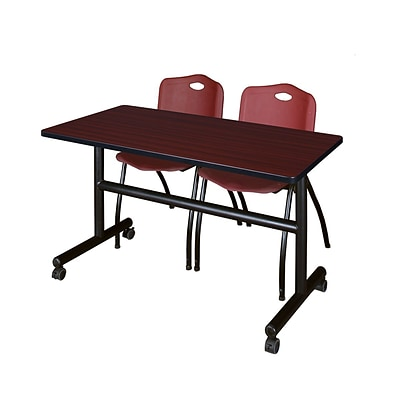 Regency Kobe 48 Flip Top Mobile Training Table- Mahogany & 2 M Stack Chairs- Burgundy