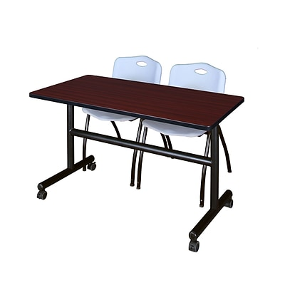 Regency Kobe 48 Flip Top Mobile Training Table- Mahogany & 2 M Stack Chairs- Grey