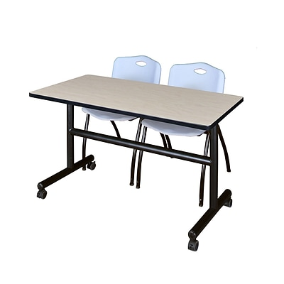 Regency Kobe 48 Flip Top Mobile Training Table- Maple & 2 M Stack Chairs- Grey