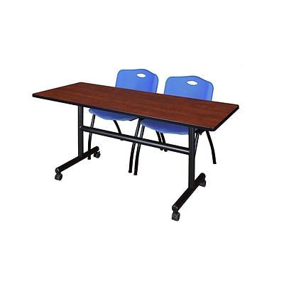 Regency Kobe 60 Flip Top Mobile Training Table- Cherry & 2 M Stack Chairs- Blue