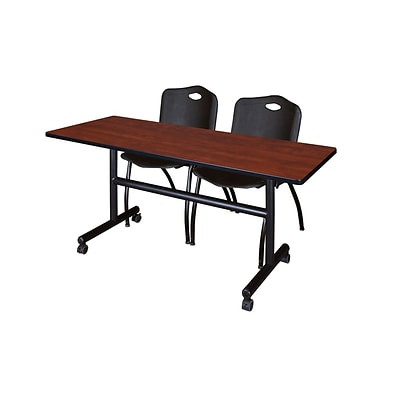 Regency Kobe 60 Flip Top Mobile Training Table- Cherry & 2 M Stack Chairs- Black