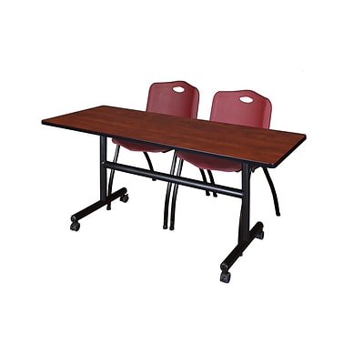Regency Kobe 60 Flip Top Mobile Training Table- Cherry & 2 M Stack Chairs- Burgundy