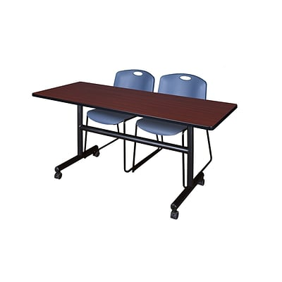 Regency Kobe 60 Flip Top Mobile Training Table- Mahogany & 2 Zeng Stack Chairs- Blue