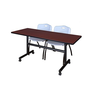 Regency Kobe 60 Flip Top Mobile Training Table- Mahogany & 2 M Stack Chairs- Grey