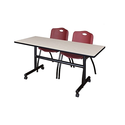 Regency Kobe 60 Flip Top Mobile Training Table- Maple & 2 M Stack Chairs- Burgundy