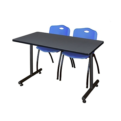 Regency Kobe 42 x 24 Training Table- Grey & 2 M Stack Chairs- Blue [MKTRCT42GY47BE]