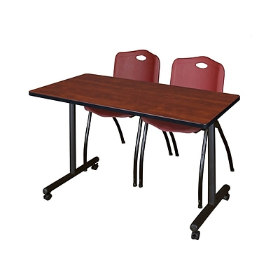 Regency Kobe 42 x 24 Mobile Training Table- Cherry & 2 M Stack Chairs- Burgundy [MKTRCC42CH47BY]