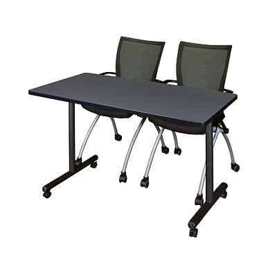 Regency Kobe 42 x 24 Mobile Training Table- Grey & 2 Apprentice Chairs- Black [MKTRCC42GY09BK]