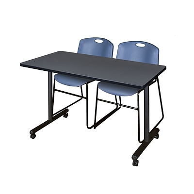 Regency Kobe 42 x 24 Mobile Training Table- Grey & 2 Zeng Stack Chairs- Blue [MKTRCC42GY44BE]