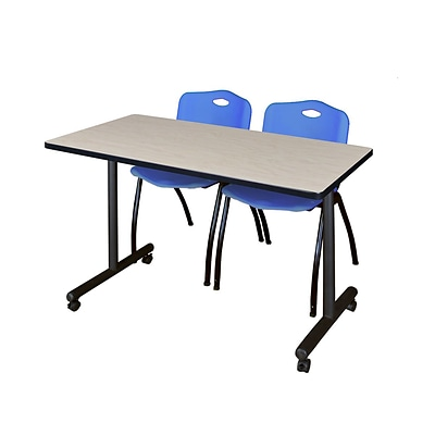 Regency Kobe 42 x 24 Mobile Training Table- Maple & 2 M Stack Chairs- Blue [MKTRCC42PL47BE]