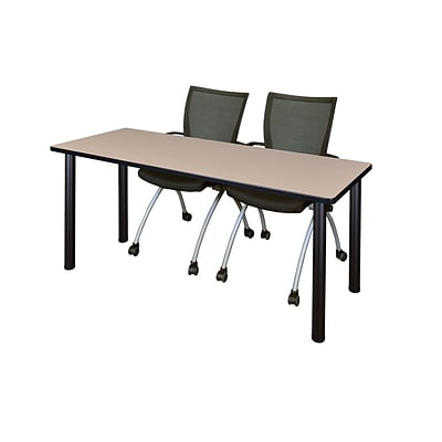 Regency Kee 60 x 24 Training Table- Beige/ Black & 2 Apprentice Chairs- Black [MT60BEBPBK09BK]