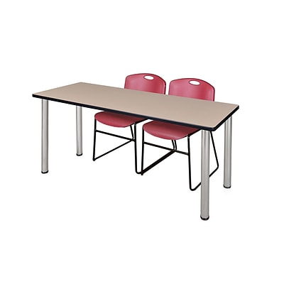 Regency Kee 60 x 24 Training Table- Beige/ Chrome & 2 Zeng Stack Chairs- Burgundy [MT60BEBPCM44BY]