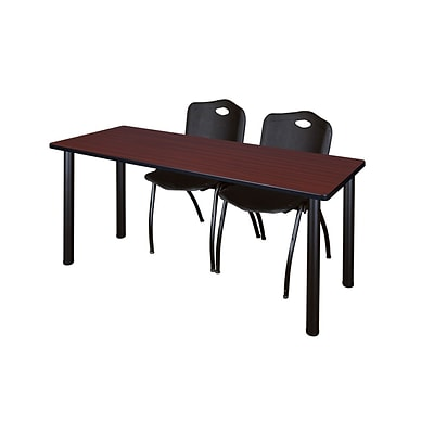 Regency Kee 60 x 24 Training Table- Mahogany/ Black & 2 M Stack Chairs- Black [MT60MHBPBK47BK]