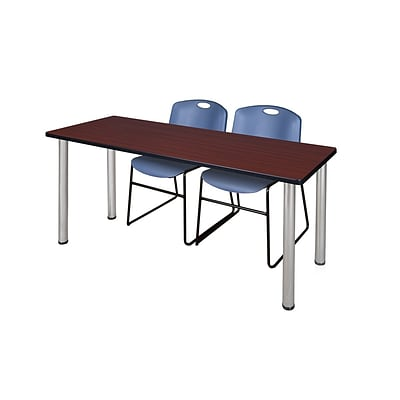 Regency Kee 60 x 24 Training Table- Mahogany/ Chrome & 2 Zeng Stack Chairs- Blue [MT60MHBPCM44BE]
