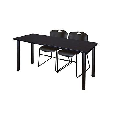 Regency Kee 60 x 24 Training Table- Mocha Walnut/ Black & 2 Zeng Stack Chairs- Black [MT60MWBPBK44BK]