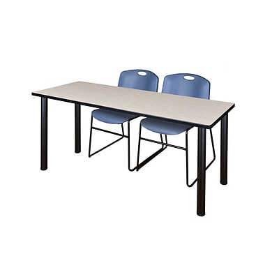 Regency Kee 60 x 24 Training Table- Maple/ Black & 2 Zeng Stack Chairs- Blue [MT60PLBPBK44BE]