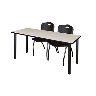 Regency Kee 60 x 24 Training Table- Maple/ Black & 2 M Stack Chairs- Black [MT60PLBPBK47BK]
