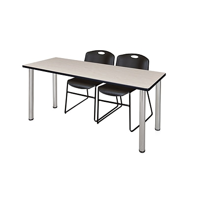 Regency Kee 60 x 24 Training Table- Maple/ Chrome & 2 Zeng Stack Chairs- Black [MT60PLBPCM44BK]